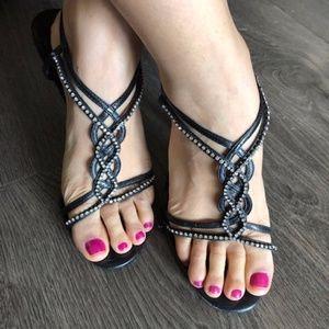 Aldo Black heels Rhinestones 6